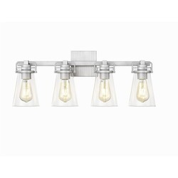 OVE DECORS 15LVAR-LOI424-LNBKY LOIS IV 4-LIGHT LED VANITY WALL LIGHT SCONCE WITH CLEAR GLASS AND BRUSHED NICKEL, BULBS INCLUDED