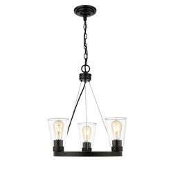 OVE DECORS 15LCHR-CLA517-PBLKY CLARK V 3-LIGHT LED CHANDELIER WITH CLEAR GLASS AND BLACK, BULBS INCLUDED