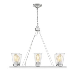 OVE DECORS 15LCHR-LOI630-LNBKY LOIS VI 6-LIGHT LED CHANDELIER WITH CLEAR GLASS AND BRUSHED NICKEL, BULBS INCLUDED