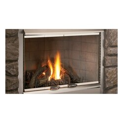 SUPERIOR 42LBFOD-BS OUTDOOR BI-FOLD DOOR WITH FRAME AND HOOD FOR 42 INCH FIREPLACE - BRUSHED STAINLESS STEEL