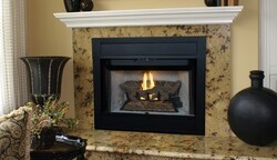 SUPERIOR BRT4336T-B BRT4000 34 3/4 INCH B-VENT FIREPLACE WITH WHITE STACKED REFRACTORY PANEL