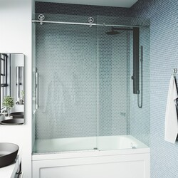 VIGO VG6044CL6066 CASS 60 X 66 INCH FRAMELESS SLIDING BATHTUB DOOR