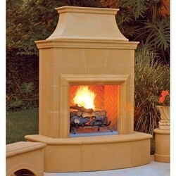 AMERICAN FYRE DESIGNS 025-C 84 INCH VENTED FREE-STANDING OUTDOOR PETITE CORDOVA FIREPLACE