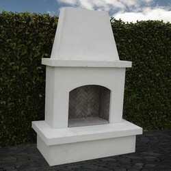 AMERICAN FYRE DESIGNS 040-11-A-WC-RBC 96 INCH VENTED FREE-STANDING OUTDOOR CONTRACTOR'S MODEL FIREPLACE - WHITE CONCRETE