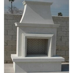 AMERICAN FYRE DESIGNS 045-11-A-WC-RBC 91 INCH VENTED FREE-STANDING OUTDOOR CONTRACTOR'S MODEL WITH MOULDING FIREPLACE - WHITE CONCRETE