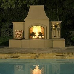 AMERICAN FYRE DESIGNS 118-05 87 INCH VENT-FREE FREE-STANDING OUTDOOR GRAND PHOENIX FIREPLACE WITH EXTENDED BULLNOSE HEARTH