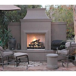 AMERICAN FYRE DESIGNS 865-10 84 3/4 INCH VENTED FREE-STANDING OUTDOOR GRAND PETITE CORDOVA FIREPLACE WITH EXTENDED BULLNOSE HEARTH