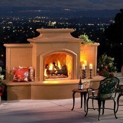AMERICAN FYRE DESIGNS 868-05 67 INCH VENTED FREE-STANDING OUTDOOR GRAND MARIPOSA FIREPLACE WITH EXTENDED BULLNOSE HEARTH