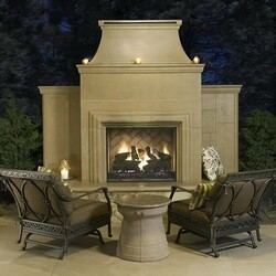 AMERICAN FYRE DESIGNS 882-35 95 INCH VENTED FREE-STANDING OUTDOOR GRAND CORDOVA FIREPLACE WITH RECTANGLE EXTENDED BULLNOSE HEARTH