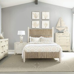PANAMA JACK 140-210C GRAPHITE 63 1/4 INCH WOOD AND WOVEN QUEEN PANEL BED