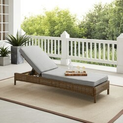 CROSLEY KO70070WB BRADENTON 76 INCH WICKER CHAISE LOUNGE WITH WEATHERED BROWN FRAME