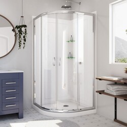DREAMLINE DL-6153 PRIME 36 W X 36 D X 76 3/4 H INCH SLIDING SHOWER ENCLOSURE, SHOWER BASE AND QWALL-4 ACRYLIC BACKWALL KIT