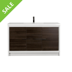 SALE! EVIVA EVVN765-60GOK-WH-SS GRACE 60 INCH BATHROOM VANITY WITH SINGLE WHITE INTEGRATED ACRYLIC COUNTERTOP IN GRAY OAK