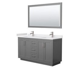 WYNDHAM COLLECTION WCF292960DKGWCUNSM58 MIRANDA 60 INCH DOUBLE BATHROOM VANITY IN DARK GRAY WITH WHITE CULTURED MARBLE COUNTERTOP, UNDERMOUNT SQUARE SINKS, BRUSHED NICKEL TRIM AND 58 INCH MIRROR