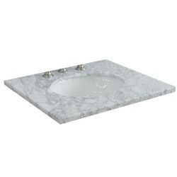 BELLATERRA 430001-25-WMO 25 INCH CARRARA MARBLE COUNTERTOP WITH SINGLE OVAL SINK - WHITE