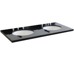BELLATERRA 430001-49D-BGO 49 INCH GRANITE COUNTERTOP WITH DOUBLE OVAL SINK - BLACK GALAXY