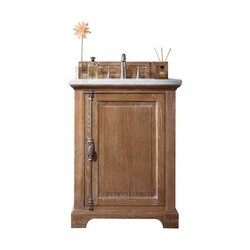 JAMES MARTIN 238-105-V26-DRF-3CAR PROVIDENCE 26 INCH DRIFTWOOD SINGLE VANITY WITH 3 CM CARRARA MARBLE TOP