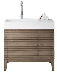 JAMES MARTIN 210-V36-WW-GW LINEAR 36 INCH SINGLE VANITY IN WHITEWASHED WALNUT WITH GLOSSY WHITE SOLID SURFACE TOP