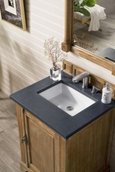 JAMES MARTIN 238-105-V26-DRF-3CSP PROVIDENCE 26 INCH SINGLE VANITY CABINET IN DRIFTWOOD WITH 3 CM CHARCOAL SOAPSTONE QUARTZ TOP WITH SINK