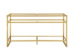 JAMES MARTIN C105-V63-RGD BOSTON 63 INCH STAINLESS STEEL SINK CONSOLE WITH DOUBLE BASINS IN RADIANT GOLD