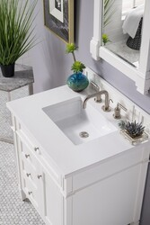 JAMES MARTIN 650-V30-BW-3CLW BRITTANY 30 INCH SINGLE VANITY IN BRIGHT WHITE WITH 3 CM CLASSIC WHITE QUARTZ TOP WITH SINK