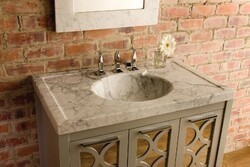 STONE FOREST C90-36SK CA VINTAGE 36 INCH WASHBASIN - HONED CARRARA MARBLE