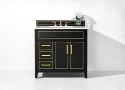 ANCERRE DESIGNS VTS-ASPEN-36-BO-CW-GD ASPEN 36 INCH BATH VANITY SET IN BLACK ONYX WITH ITALIAN CARRARA WHITE MARBLE VANITY TOP AND WHITE UNDERMOUNT BASIN WITH GOLD HARDWARE