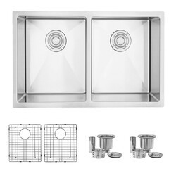 STYLISH S-300TG 28 X 18 INCH DUAL-MOUNT DOUBLE BOWL 18 GAUGE STAINLESS STEEL KITCHEN SINK WITH GRIDS STRAINERS