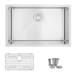 STYLISH S-306TG 28 X 18 INCH STAINLESS STEEL SINGLE BASIN DUAL MOUNT KITCHEN SINK WITH GRID AND STRAINER