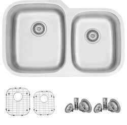STYLISH S-201TG 32 X 21 INCH STAINLESS STEEL DOUBLE BASIN UNDERMOUNT KITCHEN SINK WITH STRAINERS AND GRIDS