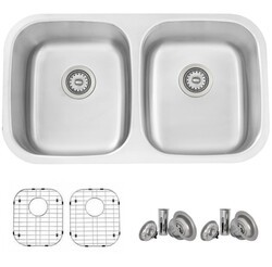STYLISH S-200TG 32 X 19 INCH STAINLESS STEEL DOUBLE BASIN DUAL-MOUNT KITCHEN SINK WITH GRIDS AND STRAINERS