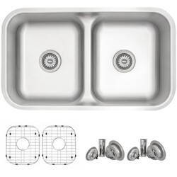 STYLISH S-202XTG 32 X 18 INCH STAINLESS STEEL DOUBLE BASIN UNDERMOUNT KITCHEN SINK WITH GRIDS AND STRAINERS