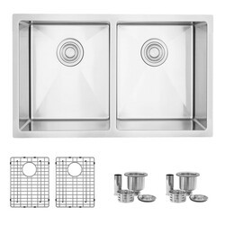 STYLISH S-304TG 30 L X 18 W INCH STAINLESS STEEL DOUBLE BASIN DUAL MOUNT KITCHEN SINK WITH GRIDS AND STRAINERS