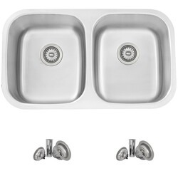 STYLISH S-200XT 32 X 19 INCH STAINLESS STEEL DOUBLE BASIN DUAL-MOUNT KITCHEN SINK WITH STRAINERS