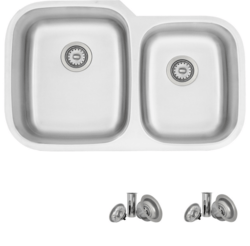 STYLISH S-201T 32 X 21 INCH STAINLESS STEEL DOUBLE BASIN UNDERMOUNT KITCHEN SINK WITH STRAINERS