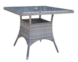 HOSPITALITY RATTAN 895-1399-WW-SQ ATHENS 36 INCH SQUARE DINING TABLE WITH TEMPERED GLASS - WHITE WASH