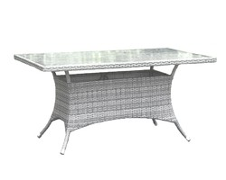 HOSPITALITY RATTAN 895-1399-WW-RT ATHENS 60 INCH RECTANGULAR DINING TABLE WITH TEMPERED GLASS - WHITE WASH