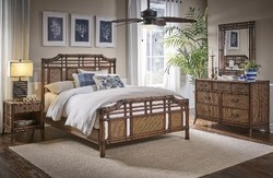 HOSPITALITY RATTAN 1102-5643-ATQ-6QT-GL PALM COVE 6-PIECE COMPLETE QUEEN BEDROOM SET WITH TRIPLE DRESSER - ANTIQUE