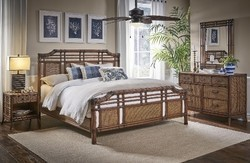 HOSPITALITY RATTAN 1102-5647-ATQ-6KT-GL PALM COVE 6-PIECE COMPLETE KING BEDROOM SET WITH TRIPLE DRESSER - ANTIQUE