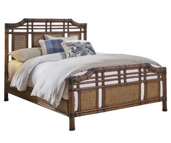 HOSPITALITY RATTAN 1102-5643-ATQ-QB PALM COVE 65 INCH QUEEN COMPLETE BED - ANTIQUE