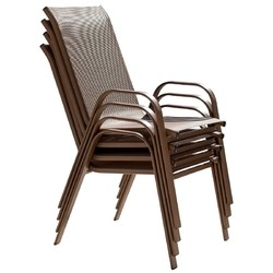 PANAMA JACK PJO-9001-ESP-4PCHB CAFE 21 INCH STACKABLE HIGH BACK SLING ARMCHAIRS, SET OF 4 - ESPRESSO