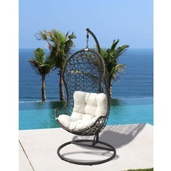 PANAMA JACK PJO-9001-GB-HC ACCENTS 38 INCH HANGING CHAIR WITH METAL STAND AND CUSHIONS - BROWN