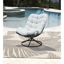 PANAMA JACK PJO-9001-GB-SW ACCENTS 29 INCH OUTDOOR SWIVEL CHAIR WITH CUSHION - BROWN