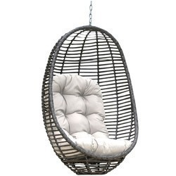 PANAMA JACK PJO-1601-GRY-HC GRAPHITE 36 INCH WOVEN HANGING CHAIR WITH CUSHION