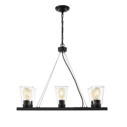 OVE DECORS 15LCHR-CLA630-PBLKY CLARK VI LED 6-LIGHT CHANDELIER IN IRON BLACK WITH INCLUDED BULBS
