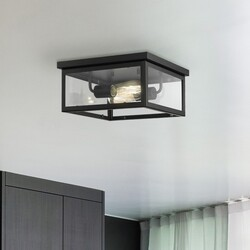 OVE DECORS 15LFMR-BRUC12-PBLKY BRUCE 2-LIGHT SQUARE FLUSHMOUNT IN BLACK WITH INCLUDED BULBS
