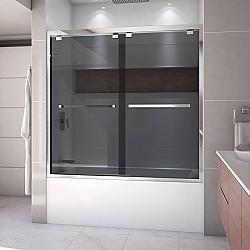 DREAMLINE SHDR-1660580 ENCORE 56-60 W X 58 H INCH SEMI-FRAMELESS BYPASS SLIDING TUB DOOR WITH SMOKE GRAY GLASS