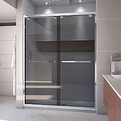 DREAMLINE SHDR-1660760 ENCORE 56-60 W X 76 H INCH SEMI-FRAMELESS BYPASS SLIDING SHOWER DOOR WITH SMOKE GRAY GLASS