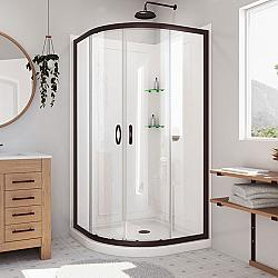 DREAMLINE DL-6152 PRIME 33 W X 33 D X 76 3/4 H INCH SLIDING SHOWER ENCLOSURE, SHOWER BASE AND QWALL-4 ACRYLIC BACKWALL KIT