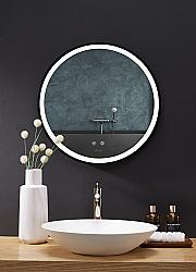 ANCERRE DESIGNS LEDM-CIRQUE-30-B CIRQUE 30 X 30 INCH ROUND LED BLACK FRAMED MIRROR WITH DEFOGGER AND DIMMER